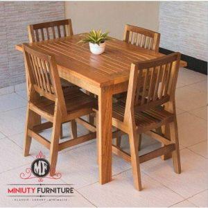 meja makan outdoor minimalis kayu jati