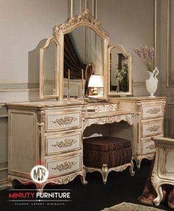 meja rias duco putih ukiran classic modern