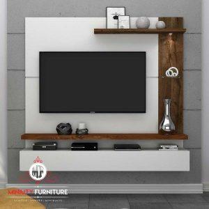 partisi tv HPL model minimalis modern duco putih