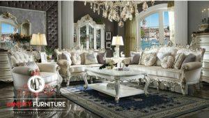 sofa ruang tamu mewah putih ukiran modern