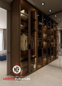 wardrobe minimalis pintu kaca mewah