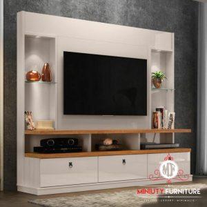 bufet partisi tv putih minimalis modern