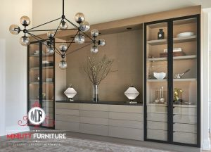 desain lemari hias rak kaca modern