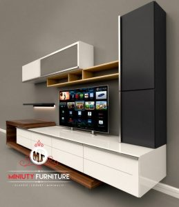 desain partisi tv minimalis modern duco putih