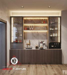 lemari hias kaca minimalis modern HPL