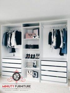 lemari pakaian minimalis putih modern HPL