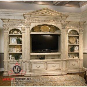 lemari tv kayu classic modern luxury jepara