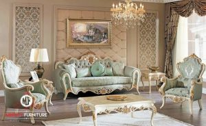 sofa ruang tamu classic duco putih luxury jepara