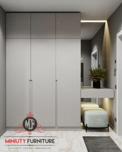 wardrobe cermin rias minimalis modern putih