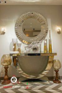 design meja console lengkung kaca cermin terbaru