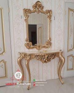 meja konsul classic ukir gold kayu terbaru