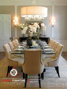 model meja makan minimalis modern 10 kursi