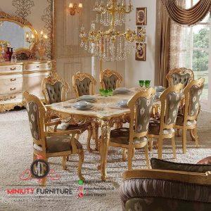 model meja makan ukiran classic modern gold