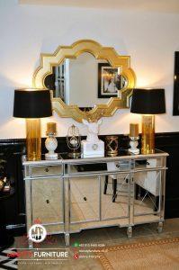 bufet konsul cermin ruang tamu mewah modern