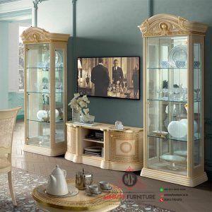 bufet tv dan lemari rak kaca kayu duco putih
