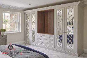 design lemari pakaian duco putih minimalis modern