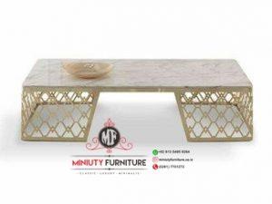 design meja ruang tamu mewah stanlis top marmer