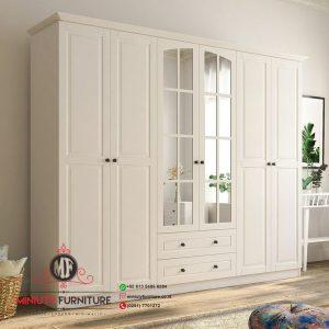 lemari pakaian minimalis modern putih
