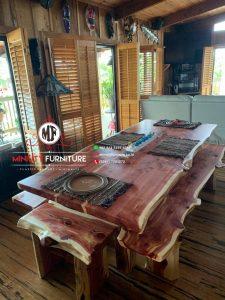meja makan blok klasik modern kayu trembesi jepara