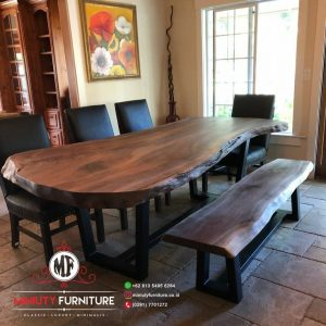 model meja makan blok kayu trembesi jepara