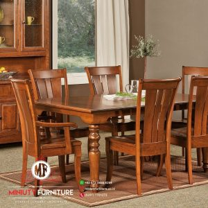 model meja makan classic kayu jati kursi 6