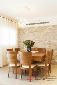 model meja makan minimalis modern 8 kursi