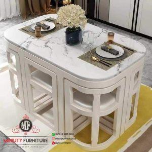 meja makan top marmer putih simple 6 kursi