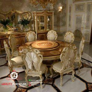 meja makan puter meja makan classik luxury ukir