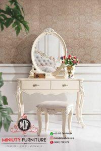 meja rias kartini duco putih meja rias cermin oval