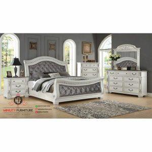 set kamar tidur putih tempat tidur putih kayu
