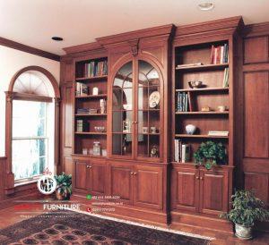 lemari rak buku kayu jati classic modern mentok plavon