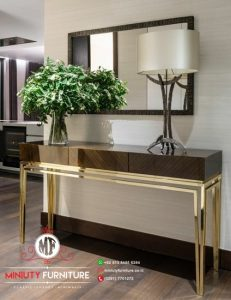 meja konsul ruang tamu minimalis modern stainlees
