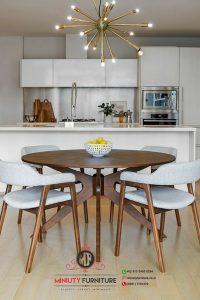 meja makan bulet 4 kursi modern kayu jati jepara