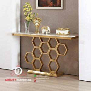 model meja konsul sarang lebah stainless gold