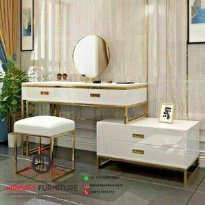 model meja rias putih mewah meja rias kaki stainlees gold terbaru