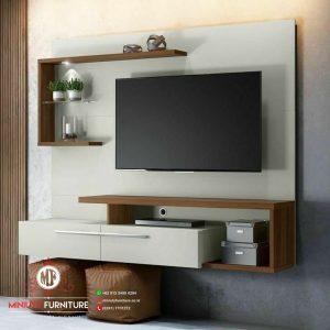 model partisi tv gantung panel tv minimalis hpl