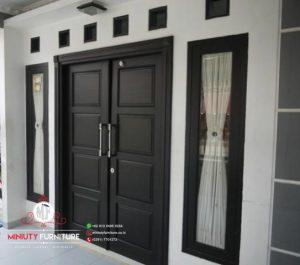 pintu rumah model 2 pintu minimalis kayu jati