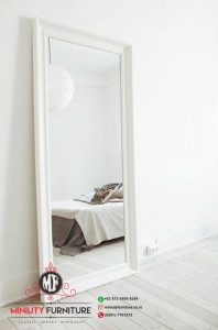 standing mirror kaca cermin panjang frame putih kayu