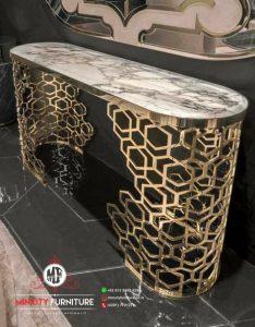 desain meja konsul stainlees top marmer mewah motif sarang lebah