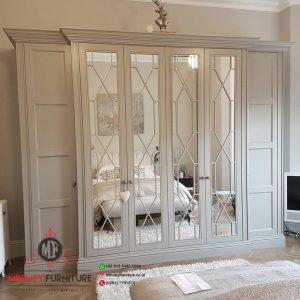 almari pakaian luxury duco putih pintu kaca classic modern