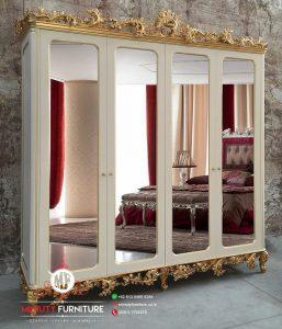 lemari pakaian pintu kaca ukir duco putih clasik modern