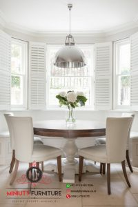 meja makan klasik modern bulet kayu jati terbaru