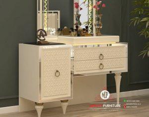 meja rias mewah modern luxury duco putih terbaru