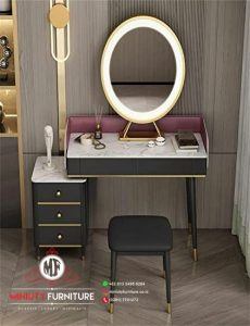 meja rias minimalis modern cermin oval terbaru
