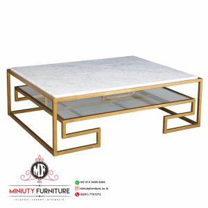meja tamu kaki besi gold top marmer white carara